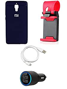 NIROSHA Cover Case Car Charger USB Cable Mobile Holder for Xiaomi Mi4 - Combo