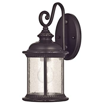 Westinghouse 6230600New Haven One-Light Exterior Wall Lanternon Steel with Clear Seeded Glass,Oil Rubbed Bronze Finish
