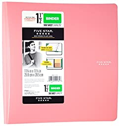 Five Star 3-Ring Plastic Binder, 1.5 Inch Capacity, 11.75 x 11.25 x 1.75 Inches, Pink (72129)