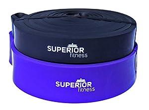 SUPERIOR Fitness Klimmzug-Band - Pull Up Band mit Übungsanleitung für effektive Workouts - Power-Band für erleichterte Klimmzüge - Widerstandsbänder in 2 Größen (lila)