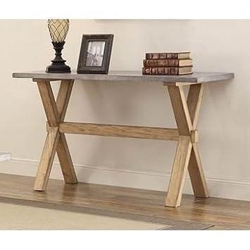 Homelegance Luella Sofa TableWith Zinc Top Weathered Oak