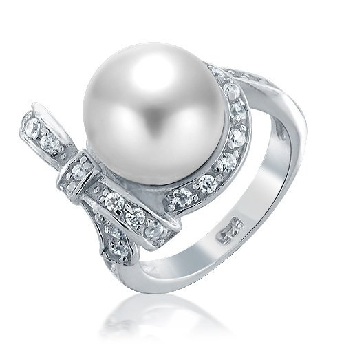 Bling Jewelry 925 Sterling Silver CZ Bow Ribbon South Sea Shell White Pearl Ring