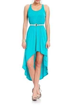2B Emilee Chain Trim High Low Dress 2b Day Dresses Aquamarine-xxs