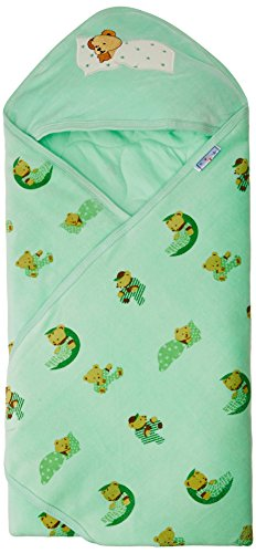 Tiny Care 375 A_G Baby Hooded Wrapper Colour Printed (Green)