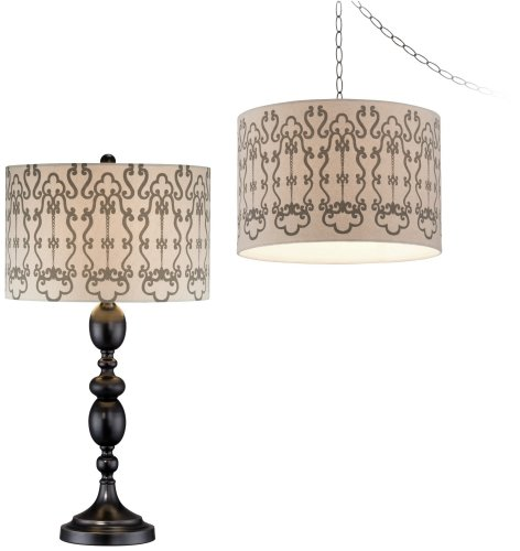 Sepia Scroll Plug-In Swag and Table Lamp Set