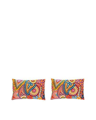 Uptown Down Set of 2 Hand-Embroidered Lumbar Pillows, Pink/Orange