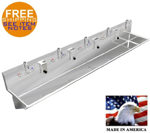 """Hand Sink 100"""" 5 Users Heavy Dity Stainless Steel 304 Manual Faucets Made In Usa"""