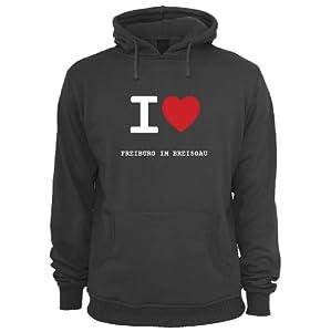 I love FREIBURG IM BREISGAU - Pulli Pullover Hoodie Kapuzensweater - FARBE: schwarz