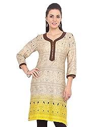 Adyana Women's Kurti (AD013_Beige_X-Large)