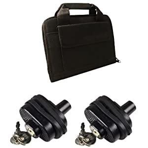Ultimate Arms Gear 2 Pack of Secure Steel & Zinc Bodied Universal Firearm Gun Handgun Pistol Revolver Shotgun Rifle Protective Key Trigger Block Lock + Tactical Stealth Black Deluxe 14 x 11 Inch Pouch Cell Foam Padded Protective Carry Attache Range Case Featuring Dual Pistol Gun Handgun Pocket & 5 Mag Magazine Pouch - Beretta 92 96 PX4