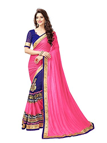 Panchratna Women's Georgette and Lycra with Blouse Piece Material