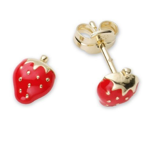 Children's Gold Earrings, 18ct Yellow Gold Strawberry Studs, by Miore, MK012E