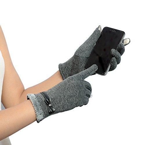 DETALLAN Womens Touch Screen Winter Mittens Warm Wrist Gloves (Gray)