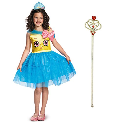Shopkins Queen Cupcake Costume Bundle Set - Child Medium Costume and Wand