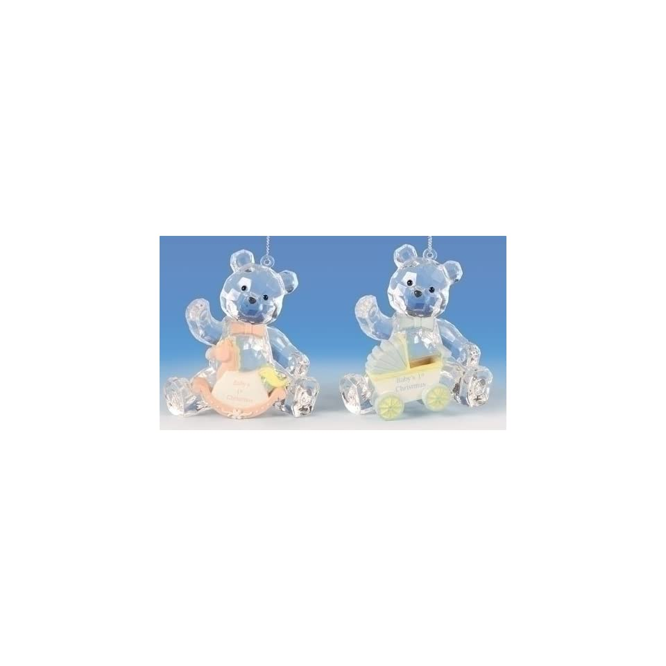 Club Pack of 12 Icy Crystal Babys First Christmas Teddy Bear Ornaments