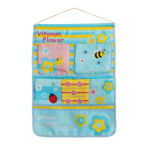 [Bee & Flowers] Blue/Wall Hanging/ Wall Pocket Wall Organizers / Wall Baskets (14*20)