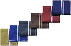 RC. ROYAL CLASS Dark Colored Side Bordered Cotton Handkerchiefs for Men (Pack of 6)
