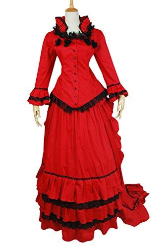 AvaLolita Aristocratic Red Belle Gown Evening Lolita Victorian Dress, S