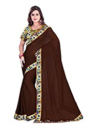 Fashion205 Women Chiffon Saree (TOK-AR7-1029_Brown_Brown_Free Size)