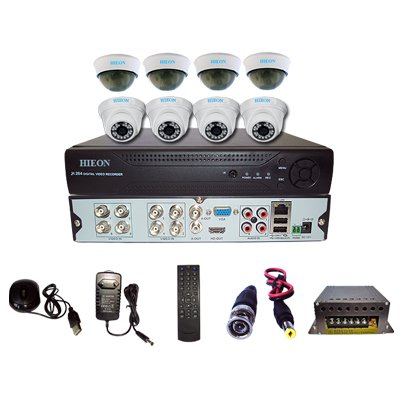 Hieon-8Channel-DVR-+-4-IR-Dome-+-4-Dome-CCTV-Cameras-(With-Mouse,-Remote,-Cable,-AV-Pin,-SMPS)