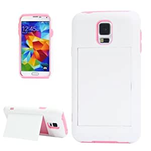 2-color Series Plastic + Silicone Combination Case with Holder for Samsung Galaxy S5 G900 in White + Pink