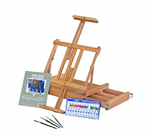 Amazon.com: Martin Van Dyck Studio Watercolor Painting Kit: Watercolor Easel: Watercolor Paintings
