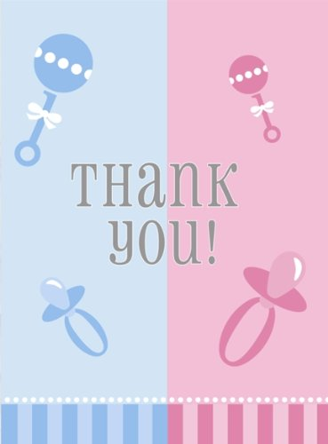 Gender Reveal 8 Count Thank You Notes, Blue And Pink front-105250