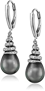 Sterling Silver Tahitian Cultured Black Pearl and Diamond Dangle Earrings