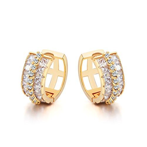 Orecchini a forma di rotonda per donne - Placcato oro 18K - Zirconia cubica bianca