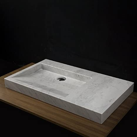 "Lacava On-counter marble washbasin without overflow, 32""W, 18""D, 3""H, 3 faucet holes in 8"" spread Bianco Stone"