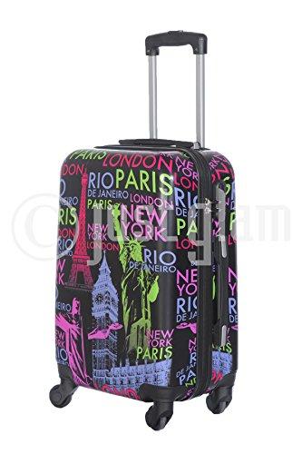 Trolley da cabina 55 cm valigia rigida 4 ruote in abs policarbonato stampato a fantasia antigraffio e impermeabile compatibile voli lowcost come Easyjet Rayanair art Capitali