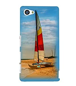Printvisa Beautiful Yatch At Beach Back Case Cover for Sony Xperia Z5 Compact::Sony Xperia Z5 Mini