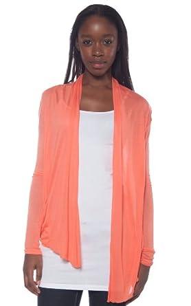 Active Basic Women's Basic Drape Front Shawl Cardigan Small Coral