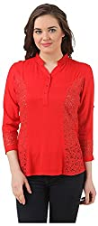 Fem&Her Women's Button Front Top (PP11, Red, 36)