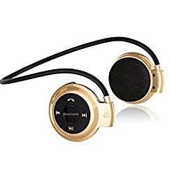 Micomy Mini 503 Bluetooth Headset Stereo Wireless Sport Headset Music Earphones for Mobile Phone / PC, Support TF Card -Gold