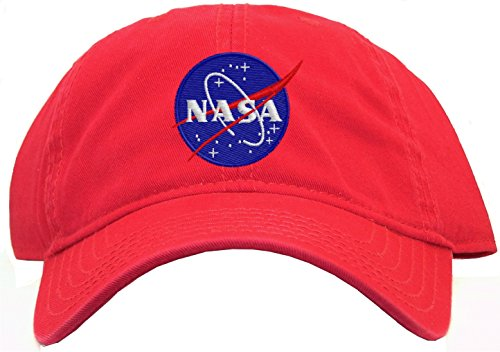 Nasa - Meatball Insignia Embroidered Low Profile Baseball Cap - Red 2016 feammal new rose floral embroidered casquette polos baseball caps cotton strapback black pink rose for women sport cap