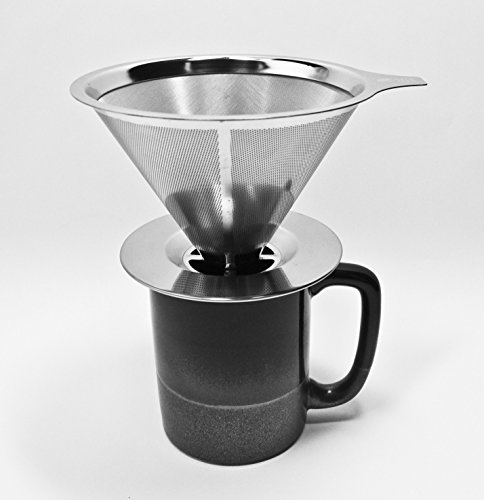 Stainless Steel Pour Over Coffee Dripper – Reusable Double Layer Mesh Filter and Coffee Scoop with Bag Clip