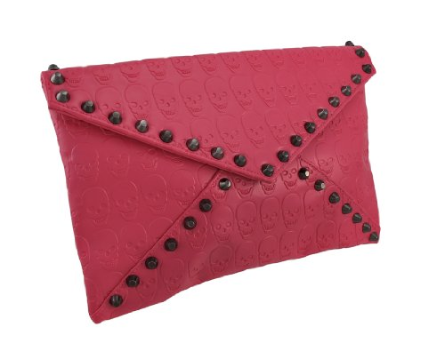 Hot Pink Skull Embossed Envelope Clutch Purse