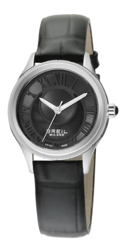 Breil Milano 939 Women's Quartz Watch with Black Dial Analogue Display and Black Leather Strap BW0571