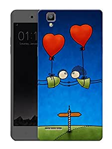 """Cartoon Couple In AirPrinted Designer Mobile Back Cover For """"Oppo F1"""" (3D, Matte, Premium Quality Snap On Case)"""