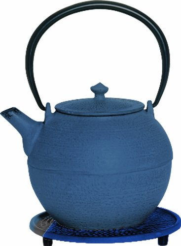 G&H Tea Services Kyoto Japanese Tetsubin 28-Ounce Teapot And Trivet, Blue