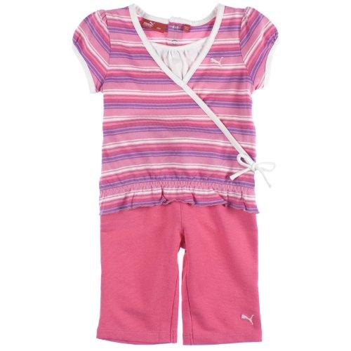 Puma Baby-Girls 2-Piece Short-Sleeve Top & Lounge Pants Set 0/3 Months Pink front-1006576