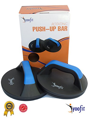 Yoofit Rotating Push Up Bars, Smooth Rotation Handle Stand Bar Perfect for Upper Body Workout, CrossFit or Fitness Training, Provide Comfort and Less Wrist Strain