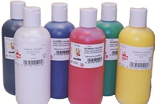 10-x-scola-300ml-artprint-screen-printing-ink-water-based-assorted-colours