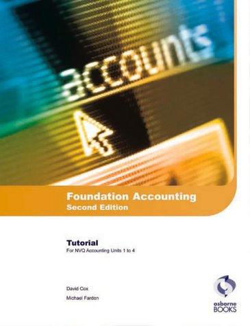 Foundation Accounting: Tutorial: AAT/NVQ Accounting, Cox, David, Used; Very Good