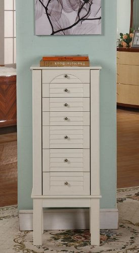 Jewelry Armoire with Slat Design Front in White Finish