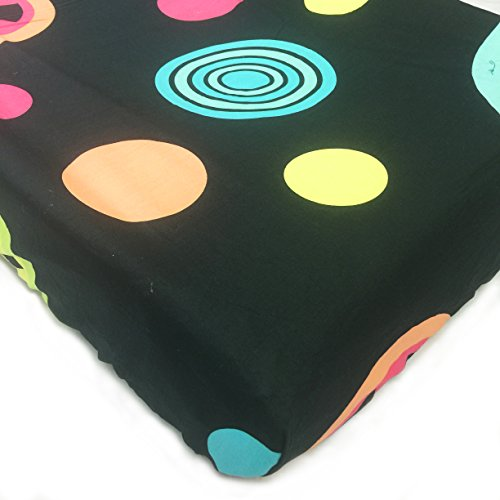 One Grace Place Magical Michayla Changing Pad Cover, Main: Black. Additional: Pink and Turquoise