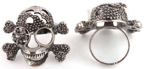 Ladies Black with Light Grey Skull and Crossbones Adjustable Finger Ring with an Iced Out Eye