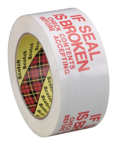 Scotch Printed Message IF SEAL IS BROKEN CHECK CONTENTS BEFORE ACCEPTING Box Sealing Tape 3771 White, 48 mm x 100 m, Conveniently Packaged (Pack of 1) (If Seal Is Broken Tape compare prices)