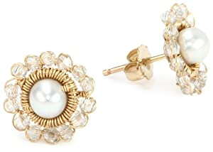Dana Kellin Feminine Hand - Stitched Crystal and Pearl Post Earrings
